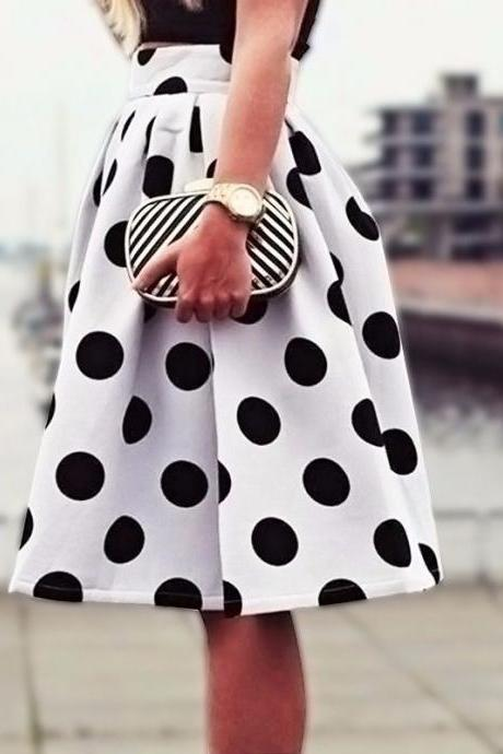 Black Polka Dots Print White High Rise Knee Length Ruffled Skater Skirt