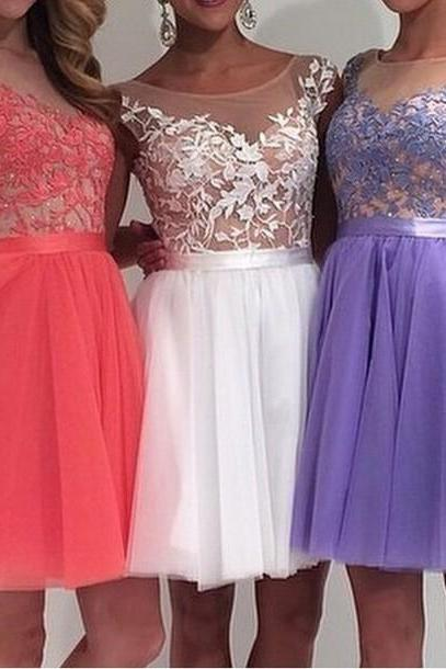 Charming Tulle And Lace Appliques Graduation Dresses Sleeveless Homecoming Dresses Short Party Dress