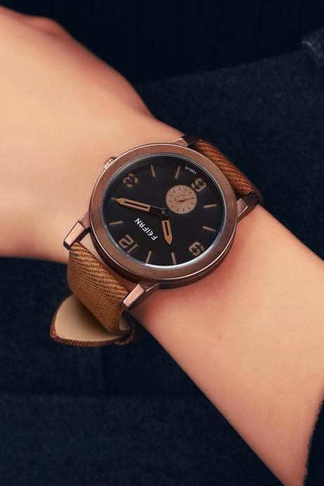 Fashion leather watch, brown leather watch, leather watch, bracelet watch, vintage watch, retro watch, woman watch, lady watch, girl watch, unisex watch, AP00474