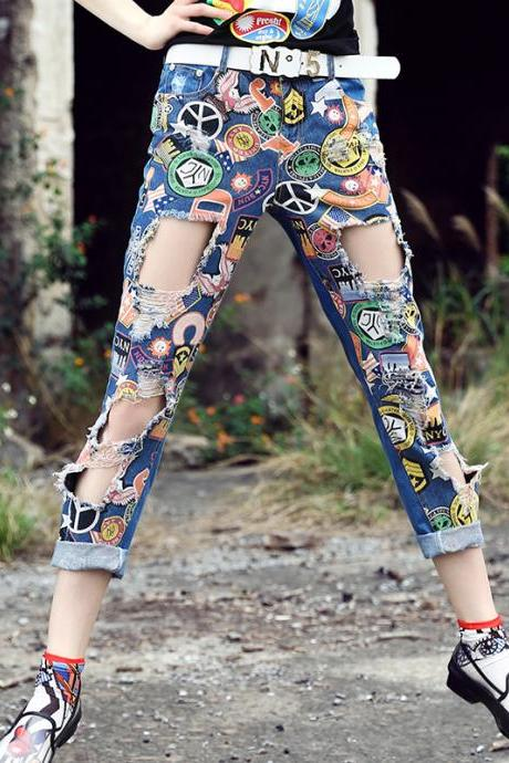 Hollow Out Jeans Pants Lady's Loose Chic Denim Pants