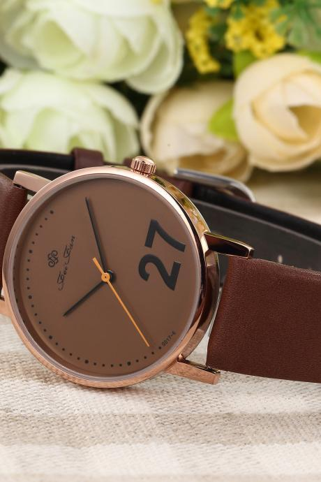 27 number Fashion leather watch, brown leather watch, bracelet watch, vintage watch, retro watch, woman watch, lady watch, girl watch, unisex watch, AP00506