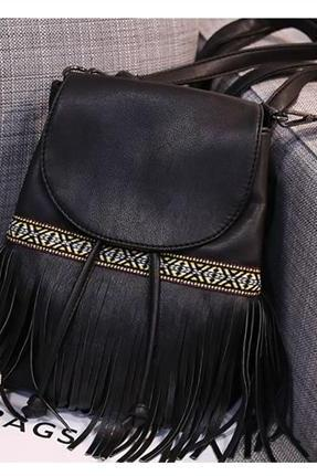 Bohemian Drawstring Backpack with Fringes