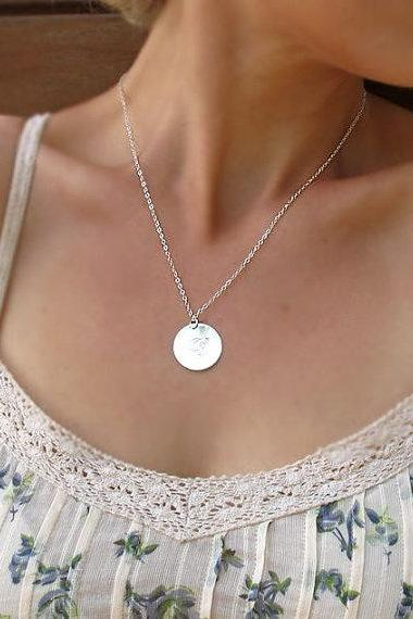 Personalized Disc Necklace - Sterling Silver Neklace - Custom Pendant for Her - Perosnalized Jewelry