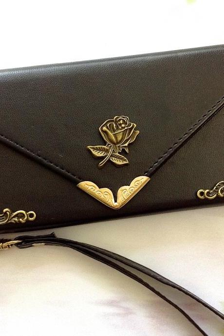 Rose iphone 6 6s 4.7 leather wallet case, Vintage iphone 6 6s plus leather wallet case, item no.172