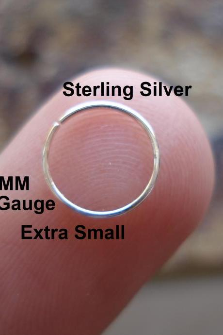 Extra Small 24G Gauge Sterling Silver for Nose Ring/Hoop Helix/Earring/tragus,7 mm Inner diameter