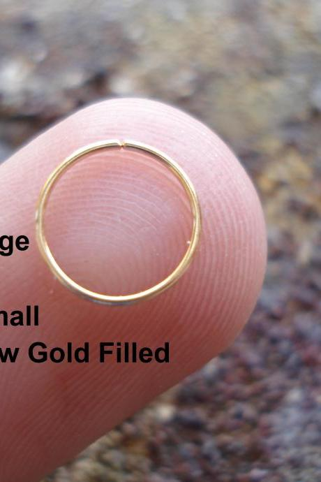 Extra Small 24 Gauge 14K Yellow Gold Filled for Nose Ring/Hoop Helix/Earring/tragus,7 mm Inner diameter