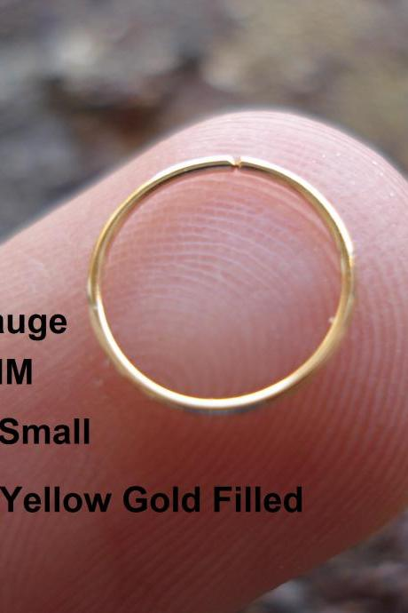 Extra Small 22 Gauge 14K Yellow Gold Filled for Nose Ring/Hoop Helix/Earring/tragus,7 mm Inner diameter