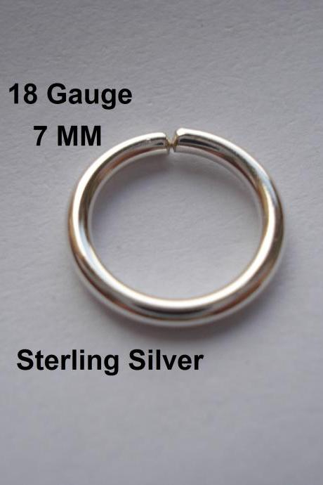 18G Gauge Sterling Silver, septum/Nose Ring/Hoop Helix/Earring/tragus,7 mm Inner diameter