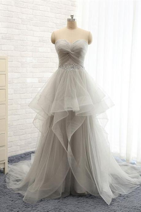 Sweetheart gray tulle A line prom dresses,formal beaded evening dresses,lace up wedding party dress,graduation dress long