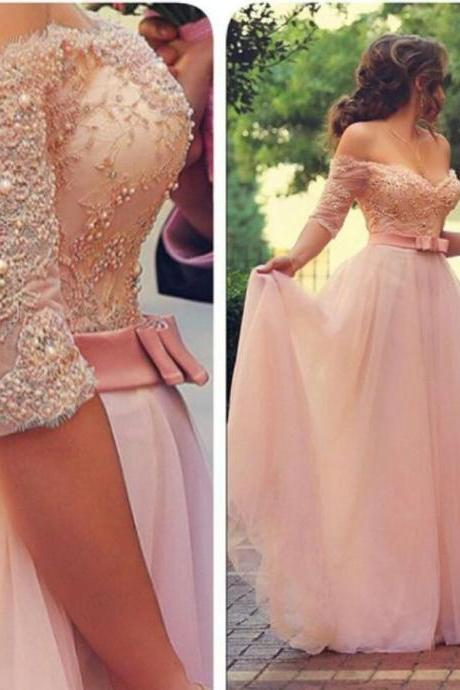 Off shoulder half sleeveless pink lace and beaded evening dress,A line tulle dress for prom,women dress elegant