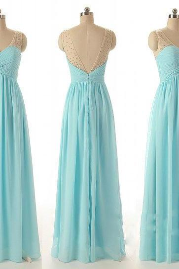 Custom Color Size Elegant Formal Zipper Up Blue Long Chiffon See Through V-Neck With Beads Bridesmaid Dress Prom Dress Evening dress