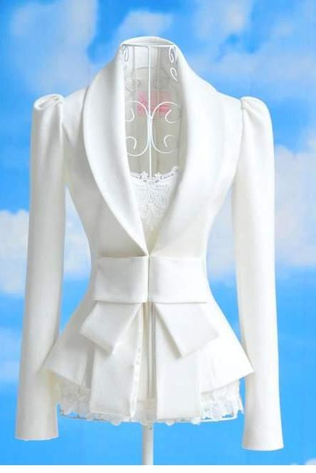 Lady's Career OL White Slim Suit Coats Jackets Tops Bowknot Blazer Fashion Style