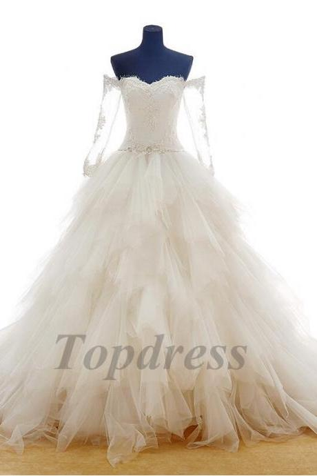 Free Shipping!!Puffy skirt appliques pearls lace ball gown wedding dress long sleeve real photo wedding gowns 2015 tulle court train bride dresses