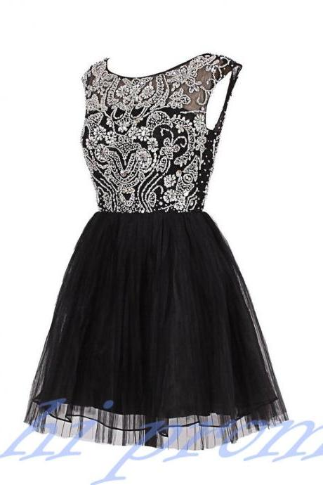 Black Homecoming Dress,Tulle Homecoming Dresses,Homecoming Gowns,Beaded Party Dress,Short Prom Gown,Sweet 16 Dress,Modest Homecoming Dresses,Cute Evening Dress