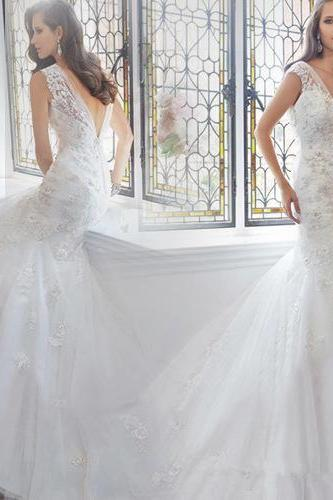 Lace Bride Wedding Dresses Deep V Backless Trailing Formal Dresses Embroidery Sexy Plus Size Mermaid Wedding Dresses