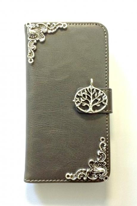 Tree iphone 6 6s 4.7 grey leather wallet case, Vintage iphone 6 6s plus leather wallet case, iphone SE, 5c, 5, 5s leather wallet case, samsung galaxy S4, S5, S6, S6 Edge, S7, S7 Edge, Note 3, Note 4, Note 5, leather wallet case, item no.169