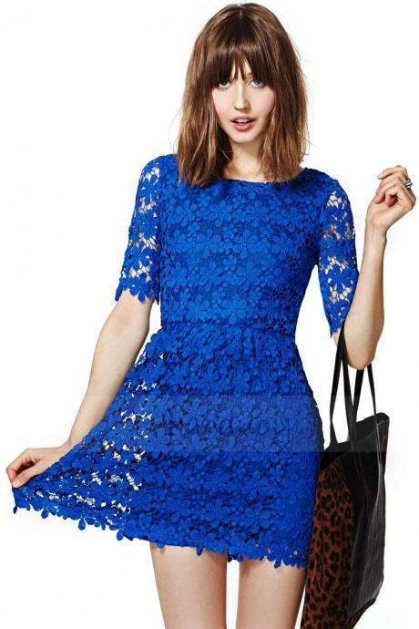 Blue Floral Lace Bateau Neckline Half Sleeved Short Skater Dress Featuring Keyhole Back