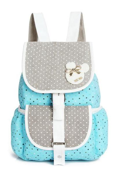 Polka Dot Pattern Mixed Colors Hasp School Backpack
