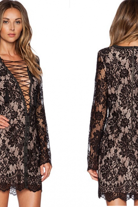 Women Long Sleeve Lace Dress with Deep V- Neckline Featuring Criss- Cross Front