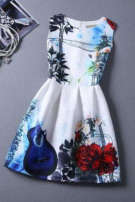 New Violin Patternc Sleeveless Vest Dress For Women