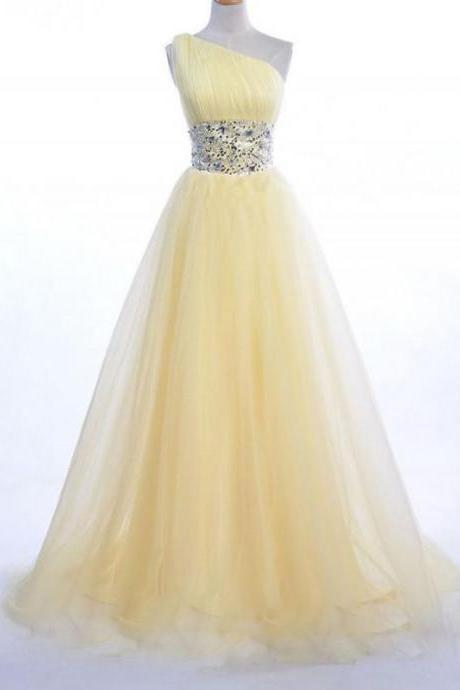 One Shoulder Yellow Evening Dress Prom Dresses Tulle Women Bridal Gown Party Dress Long Prom Dress