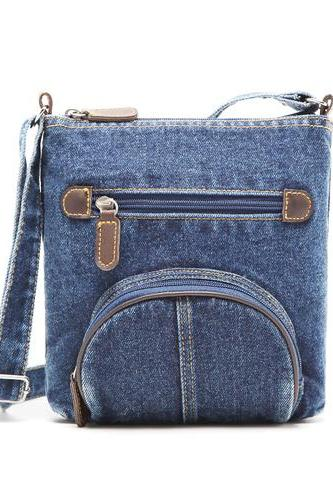 Denim Stars Pattern Front Circular Pocket Shoulder Bag