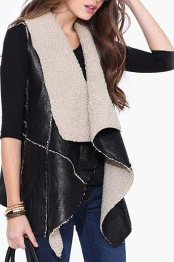 Fashion Turndown Collar Color Block Asymmetric Closure Waistcoat