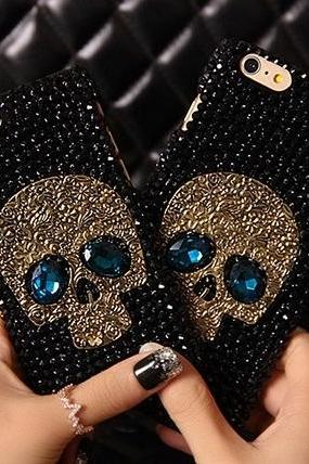 6c 6s plus 7plus iPhone 5 5s s6 Alloy skull for Bling Rhinestone shell for iPhone Personalised Samsung galaxy phone case mobile phone case OEM phone case