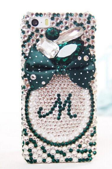 6c 6s plus 7plus note 4 Green bow diamond Kawaii iPhone case Bling Phone 6 6 plus case for iPhone and Samsung galaxy s6 mobile OEM phone case