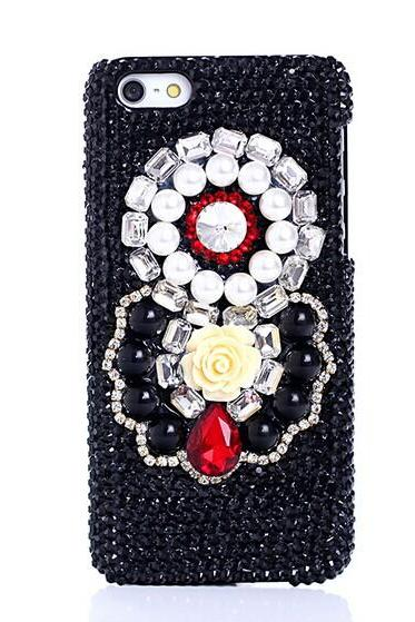6c 6s plus 7plus iPhone 6 4.7 galaxy s5 s4 Flower gem diamond Black Phone 6 plus case for iPhone and Samsung mobile OEM phone case