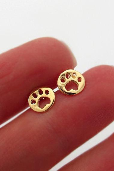 Gold Paw Earrings - Tiny Paw shaped stud earrings - Pet Lovers Earrings - Dog Paw Studs