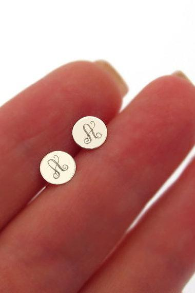 Monogram Earrings - Monogram Studs for Her - Monogram Post Earrings - Initial Earrings - Engraved Studs