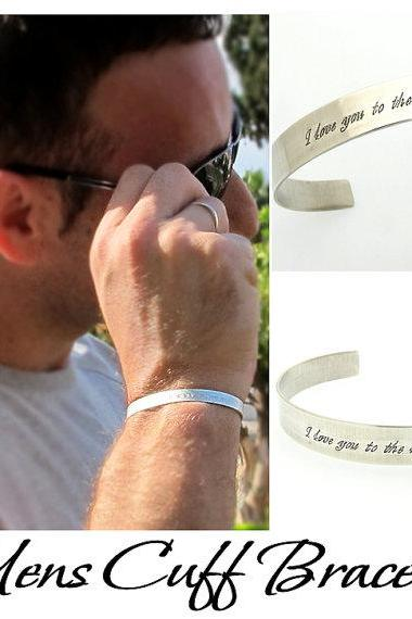 Custom Mens Cuff Bracelet - Sterling Silver Engraved Cuff for Men - Personalized Mens cuff