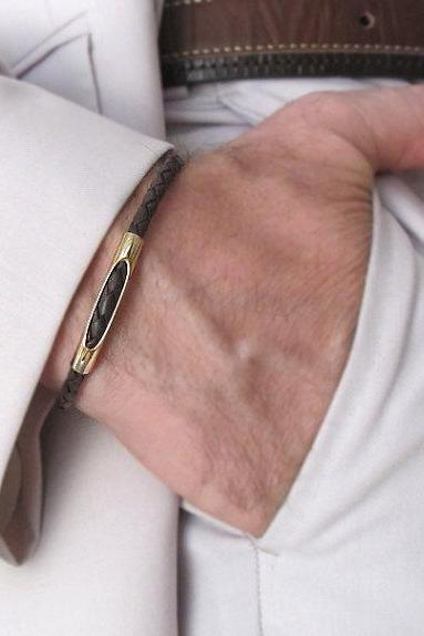 Leather Bracelet for Men - Elegrant Men's Bracelet - Braided Leather bracelet with Gold Tube