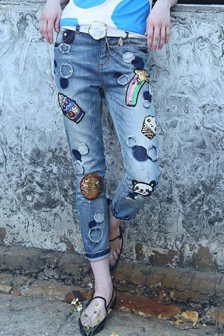 Boyfriend Hold Jeans Pant Small Bottoms Chic Sequins Cartoon Pant