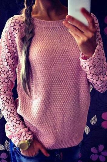 Fashion Lace Splicing Round Neck Pink Sweater (2 colors)