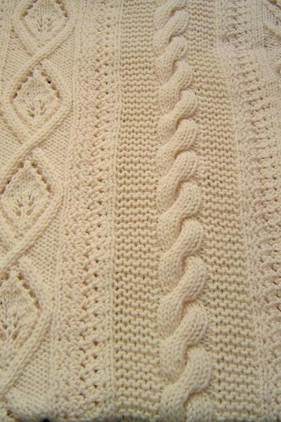 Floral Blanket Afghan Oatmeal 48x70 Hand Knit Crochet by CarussDesignZ