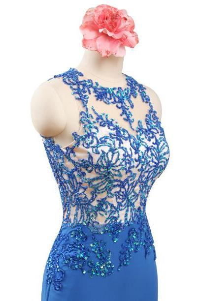 Scoop Back V Zipper Top Beaded Royal Blue Long Mermaid Chiffon Elegant Prom Dress Evening Party Gown