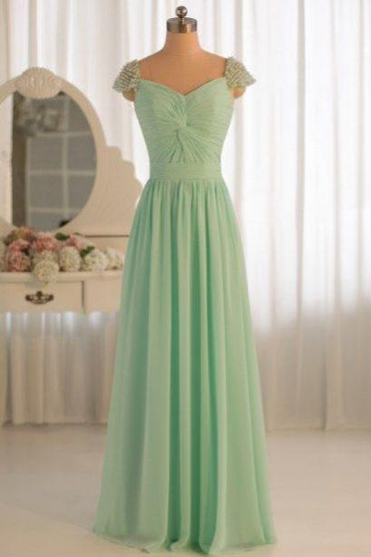 Cap Sleeve Sweetheart discount bridesmaid dresses, long prom dress