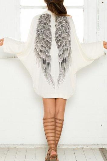 High Quality Wing Print Batwing Sleeve White Cardigan