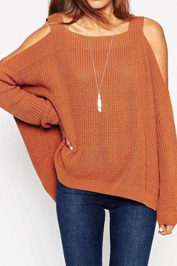2015 Fashion Long Sleeve Cold Shoulder Brown Asymmetric Sweater