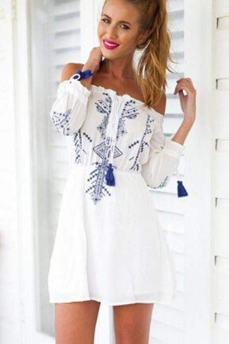 CUTE OFF SHOULDER DESIGN PRINT ROMPER