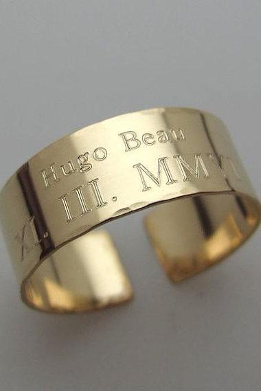 Personalized Gold Ring - Custom Band in Gold Filled 14K - Engraved Ring for Him or for Her - Inspirational Ring