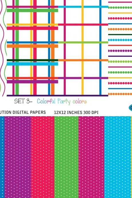 Set 003 Digital Scrapbook paper / Party Colorful part 1/ digital download / dots / lines / stripes /