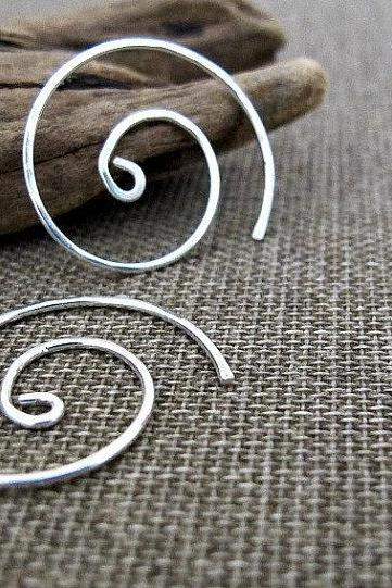 Spiral Hoop Earrings - Sterling Silver Swirl Hoops - Fashion Jewelry - Minimalist Earrings