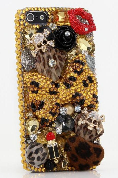 Bling Crystals Phone Case for iPhone 6 / 6s, iPhone 6 / 6s PLUS, iPhone 4, 5, 5S, 5C, Samsung Note 2, Note 3, Note 4, Galaxy S3, S4, S5, S6, S6 Edge, HTC ONE M9 (GOLDEN LEOPARD BOW DESIGN) By LuxAddiction