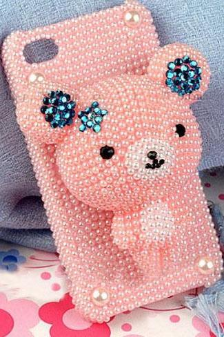 i6 plus gift Cute Bear iPhone 7plus 5 5s 6s case Bling pearl rhinestone case and Samsung mobile Accept OEM phone case