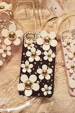 6s plus 7plus galaxy s6 cases White flower iPhone case Bling Phone 6 case for iPhone and Samsung mobile girly OEM phone case