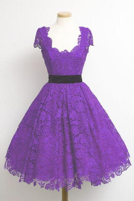 Newest 2016 A-line Scoop Cap Sleeve Knee length Lace Purple Formal Party Dresses with Black Sashes Fashion Evening Dresses Prom Gowns