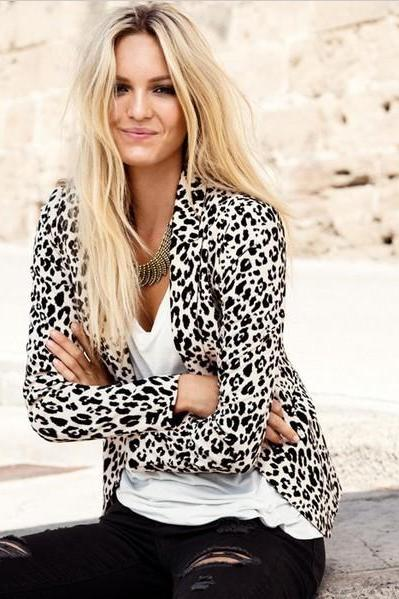 LEOPARD GRAIN FASHION LONG-SLEEVED COAT GG731BB